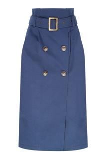 Голубая юбка с поясом Laroom