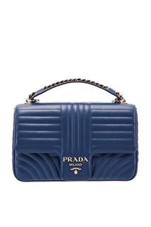 Синяя кожаная сумка с фактурной отделкой Diagramme Prada