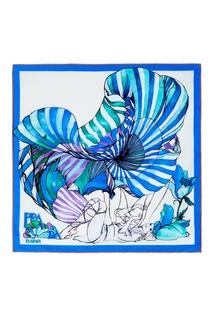 Голубой шелковый шарф Prada