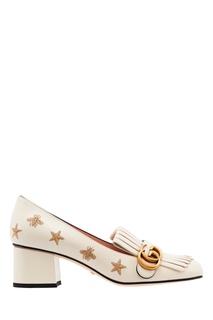 Белые кожаные туфли с вышивкой и логотипом Gucci