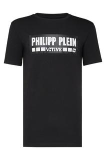 Черная футболка с логотипами Philipp Plein