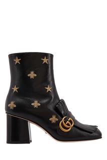 Кожаные ботильоны с золотистой вышивкой Gucci