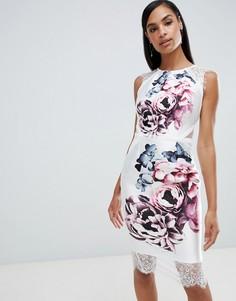 Платье с цветочным принтом и кружевной отделкой Lipsy - Мульти