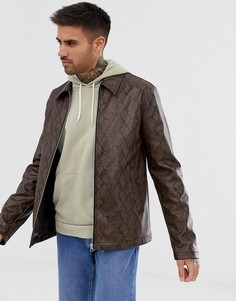 Куртка из искусственной змеиной кожи на молнии ASOS DESIGN - Рыжий