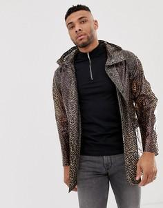 Прозрачная куртка на молнии с леопардовым принтом ASOS DESIGN - Коричневый