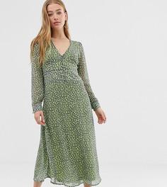 Чайное платье миди с цветочным принтом Daisy Street - Зеленый