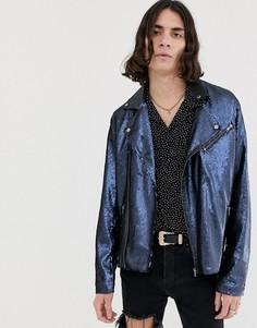 Темно-синяя байкерская куртка с пайетками ASOS DESIGN - Темно-синий