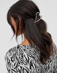 Заколка для волос в форме сердца ASOS DESIGN - Золотой