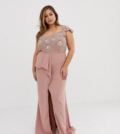 Декорированное платье макси с открытыми плечами и оборками Virgos Lounge Plus - Розовый