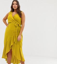 Фисташковое платье мидакси с запахом Flounce London Plus - Желтый