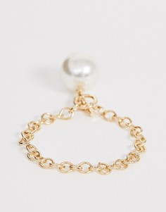 Золотистый браслет с искусственным жемчугом и застежкой тогл ASOS DESIGN - Золотой