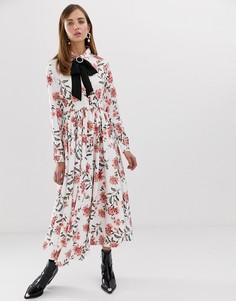 Платье макси с пуговицами и пряжкой со стразами Sister Jane - Мульти