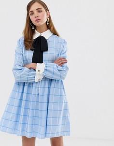 Свободное платье мини в крупную клетку с завязкой на бант Sister Jane - Синий