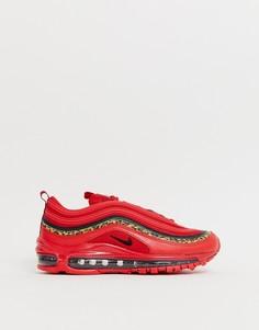 Красные кроссовки с леопардовым принтом Nike Air Max 97 - Мульти