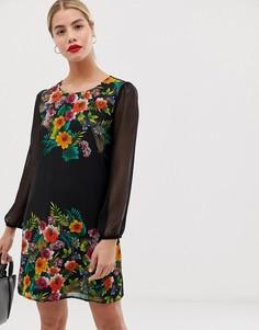 Платье А-силуэта с тропическим принтом Yumi - Мульти