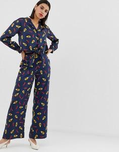 Атласные широкие брюки с принтом Neon Rose - Темно-синий