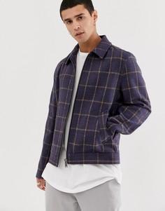 Темно-синяя клетчатая куртка на молнии с добавлением шерсти ASOS DESIGN - Темно-синий
