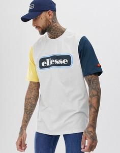 Светло-серая меланжевая контрастная oversize-футболка с логотипом ellesse Mirro - Серый