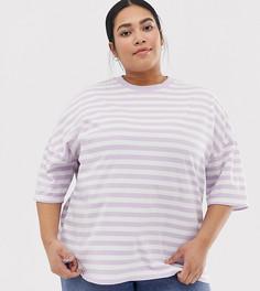 Oversize-футболка в полоску ASOS DESIGN Curve - Фиолетовый