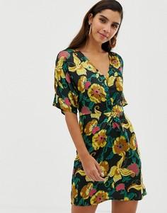 Платье мини с перекрученной отделкой и цветочным принтом Liquorish - Мульти