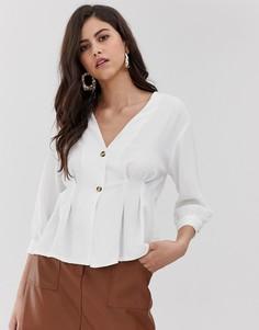 Блузка кремового цвета с пуговицами и защипами на уровне талии Vila - Кремовый