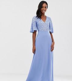 Синее платье макси с пайетками и расклешенными рукавами Maya Tall - Синий