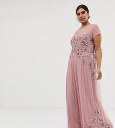 Премиум-платье макси со сплошной декоративной отделкой и сетчатыми рукавами Maya Plus - Розовый