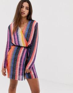 Платье мини в полоску с запахом и пайетками Club L - Мульти