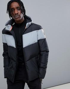 Черная дутая куртка HIIT - Серебряный