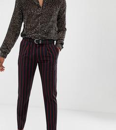 Темно-синие облегающие укороченные брюки в строгом стиле с плиссировкой и красными полосками Heart & Dagger - Темно-синий