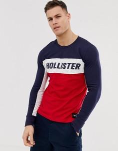 Лонгслив в стиле колор блок темно-синего/красного/белого цвета с логотипом Hollister - Мульти