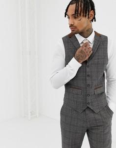 Узкий пиджак с отделкой контрастным кантом Harry Brown - Коричневый