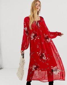 Платье макси с цветочным принтом, квадратным вырезом и кантом ASOS DESIGN - Мульти
