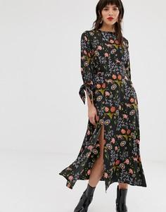 Чайное платье мидакси с завязками на манжетах и разрезом Neon Rose - Черный