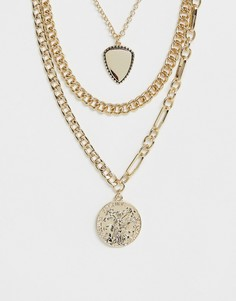 Золотистое массивное ожерелье в несколько рядов с подвесками-монетами Pieces - Золотой