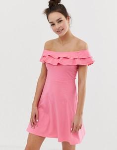 Сарафан с открытыми плечами и двойной оборкой ASOS DESIGN - Розовый