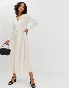 Платье макси с плиссировкой Selected Femme - Бежевый