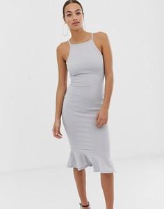 Платье миди с годе AX Paris - Серебряный