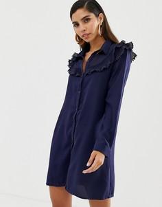 Платье-рубашка с оборками на лифе Liquorish - Темно-синий