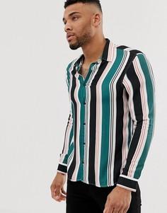 Рубашка с белыми полосками и отложным воротником Pull&Bear - Белый