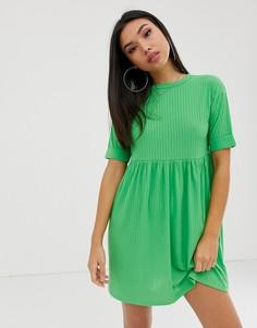 Свободное трикотажное платье в рубчик с подвернутыми рукавами ASOS DESIGN - Зеленый
