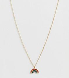 Золотистое ожерелье-цепочка с подвеской в виде радуги Monki - Мульти