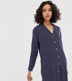 Свободное платье-рубашка в горошек Native Youth - Темно-синий