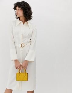 Платье-рубашка миди в стиле 70-х с большим воротником ASOS DESIGN - Кремовый