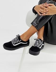 Черные кроссовки на шнуровке с шахматным узором Vans Old Skool Premium - Черный