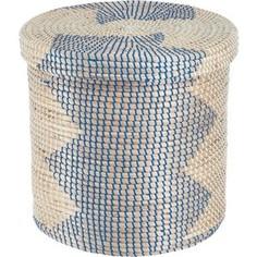 Корзина бельевая Natural House круглая Изумрудная волна, Д400 Ш400 В400, изумрудный, синий