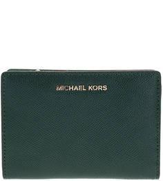 Кожаный кошелек зеленого цвета Money Pieces Michael Kors