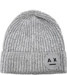 Серебристая шапка с нашивкой Armani Exchange