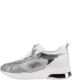 Серебристые кроссовки на танкетке с отделкой пайетками Liu Jo