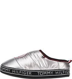 Домашние текстильные тапочки серебристого цвета Tommy Hilfiger
